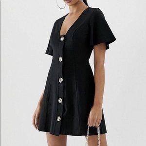 Design Faux Horn Button Through Mini Dress